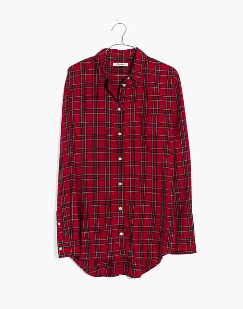 Oversized Ex-Boyfriend Shirt in Tartan Plaid in true red image 4