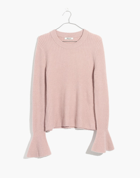 Ruffle-Cuff Pullover Sweater in iced rose image 1