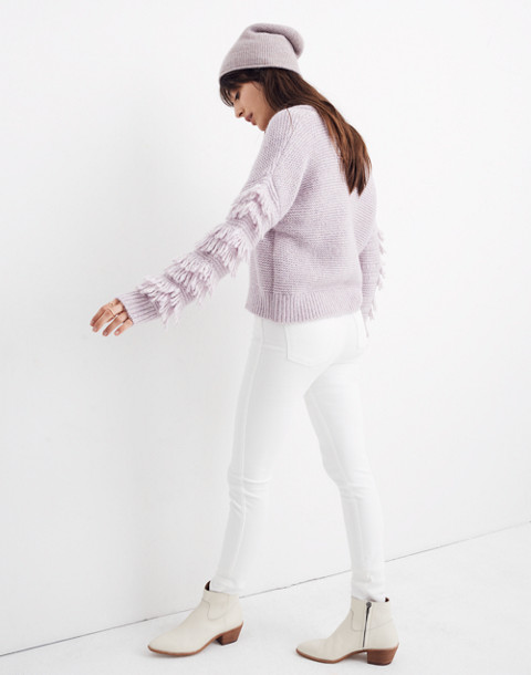 Fringe-Sleeve Pullover Sweater in heather periwinkle image 2