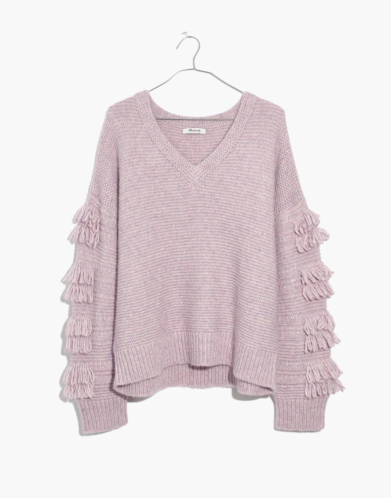 Fringe-Sleeve Pullover Sweater in heather periwinkle image 4