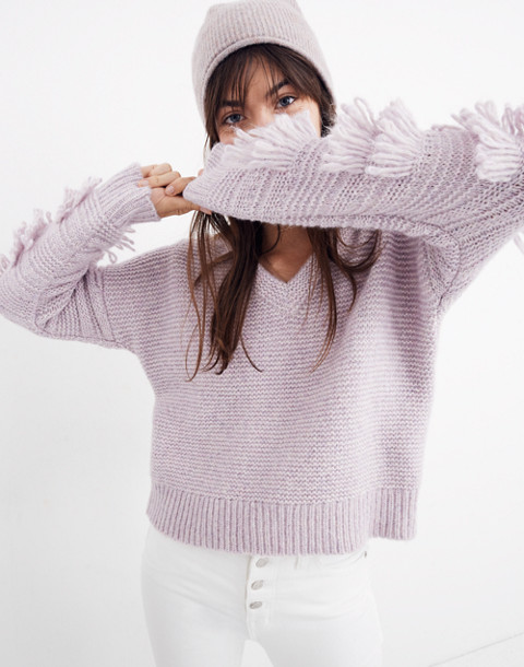 Fringe-Sleeve Pullover Sweater in heather periwinkle image 1