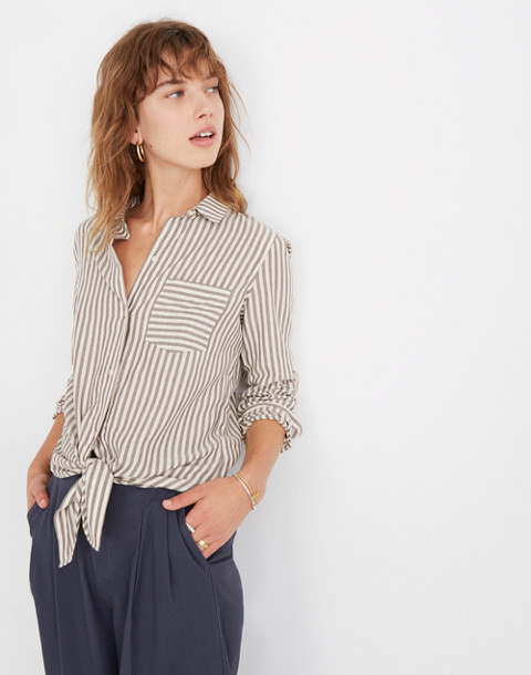 Tie-Front Shirt in Maitland Stripe in dark eggplant image 1