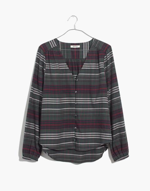 V-Neck Button-Down Shirt in Pineview Plaid in olympia plaid architect image 4