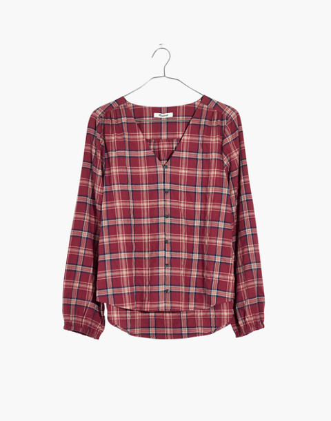 V-Neck Button-Down Shirt in Stratfield Plaid in carmel plaid dark cinnabar image 4