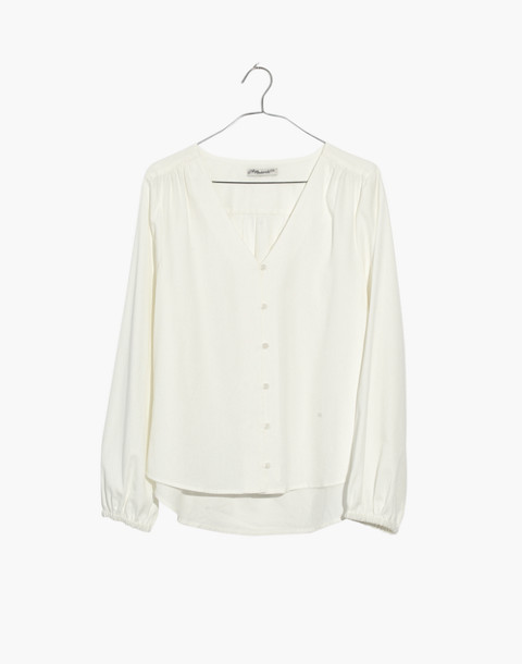 V-Neck Button-Down Shirt in White in pure white image 4