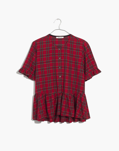 Studio Ruffle-Hem Top in Clanton Plaid in true red image 4