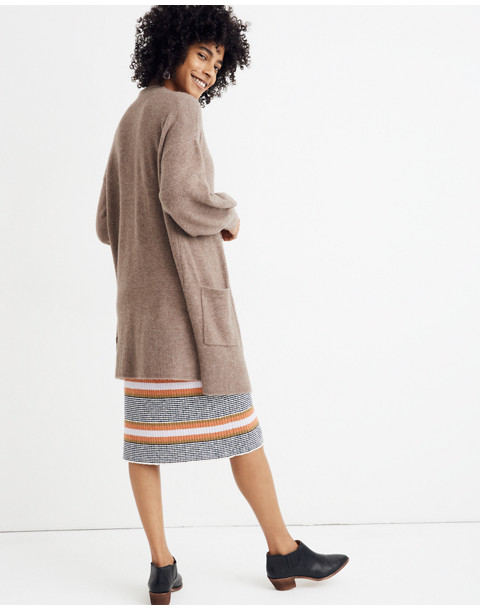Edgewater Bubble-Sleeve Cardigan Sweater in hthr root image 2
