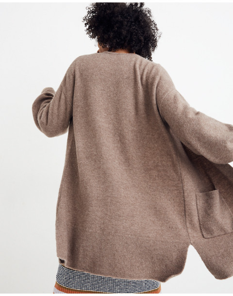 Edgewater Bubble-Sleeve Cardigan Sweater in hthr root image 3