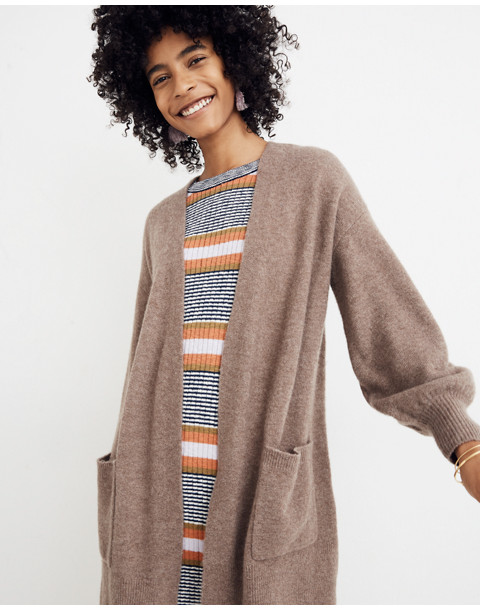 Edgewater Bubble-Sleeve Cardigan Sweater in hthr root image 1