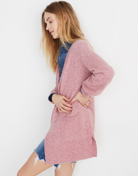 Edgewater Bubble-Sleeve Cardigan Sweater in heather mulberry image 2