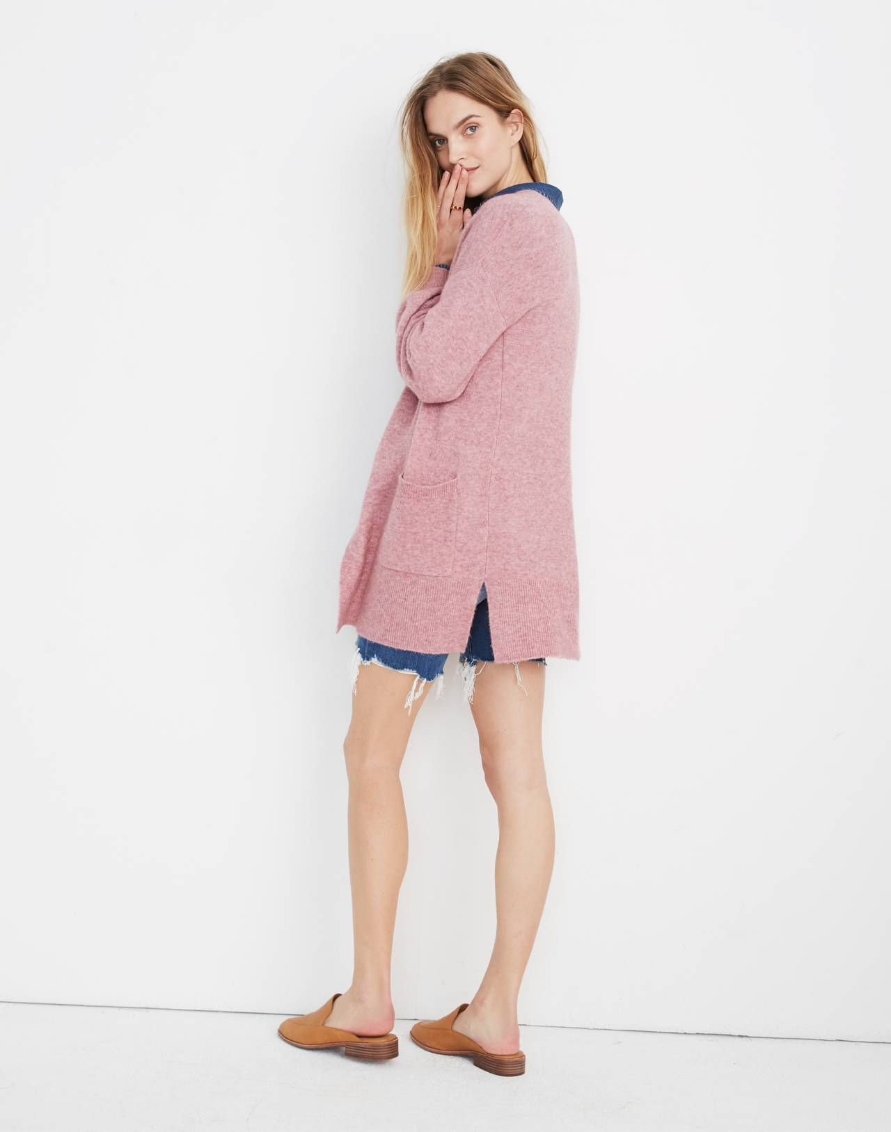 Edgewater Bubble-Sleeve Cardigan Sweater in heather mulberry image 3