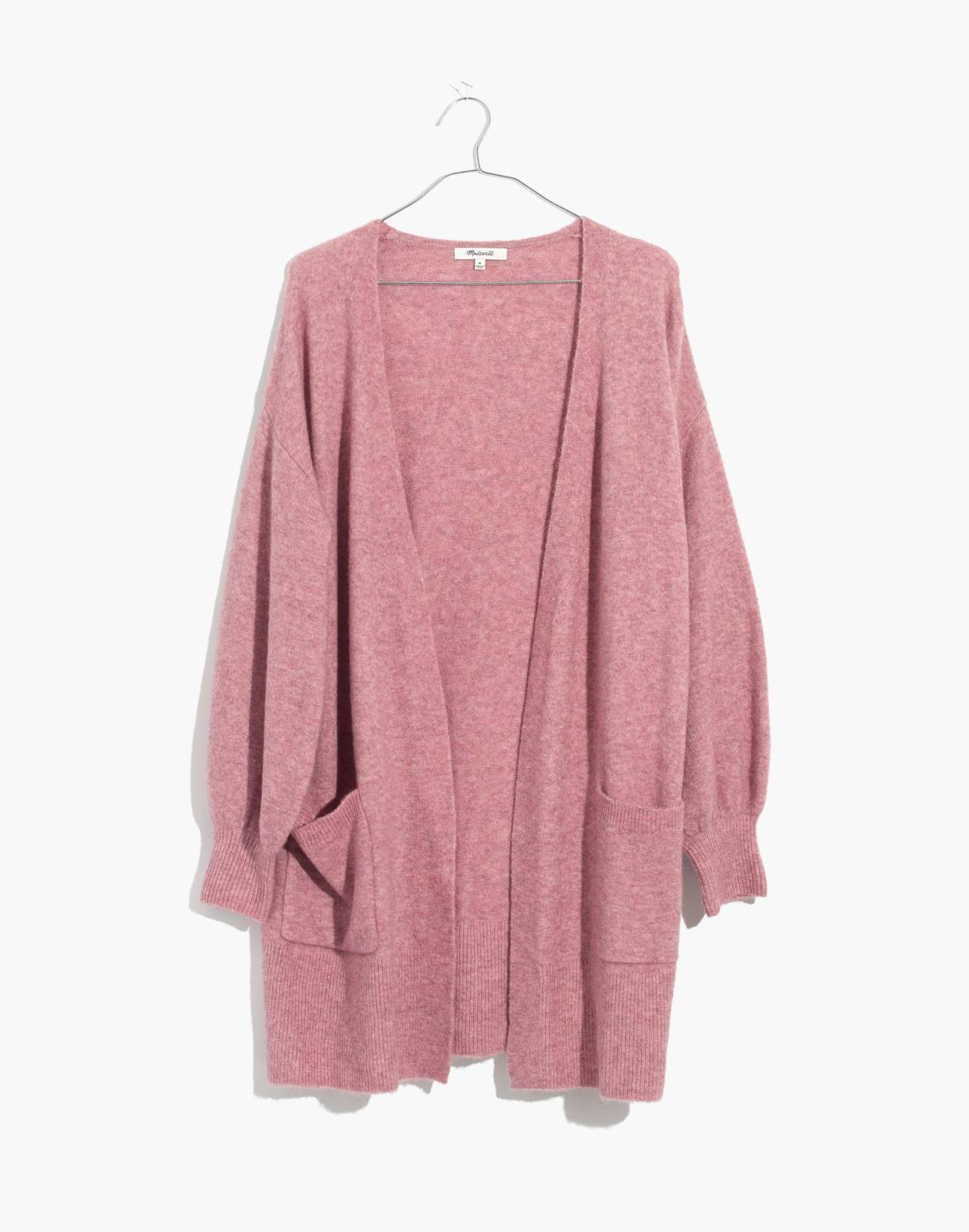 Edgewater Bubble-Sleeve Cardigan Sweater in heather mulberry image 4