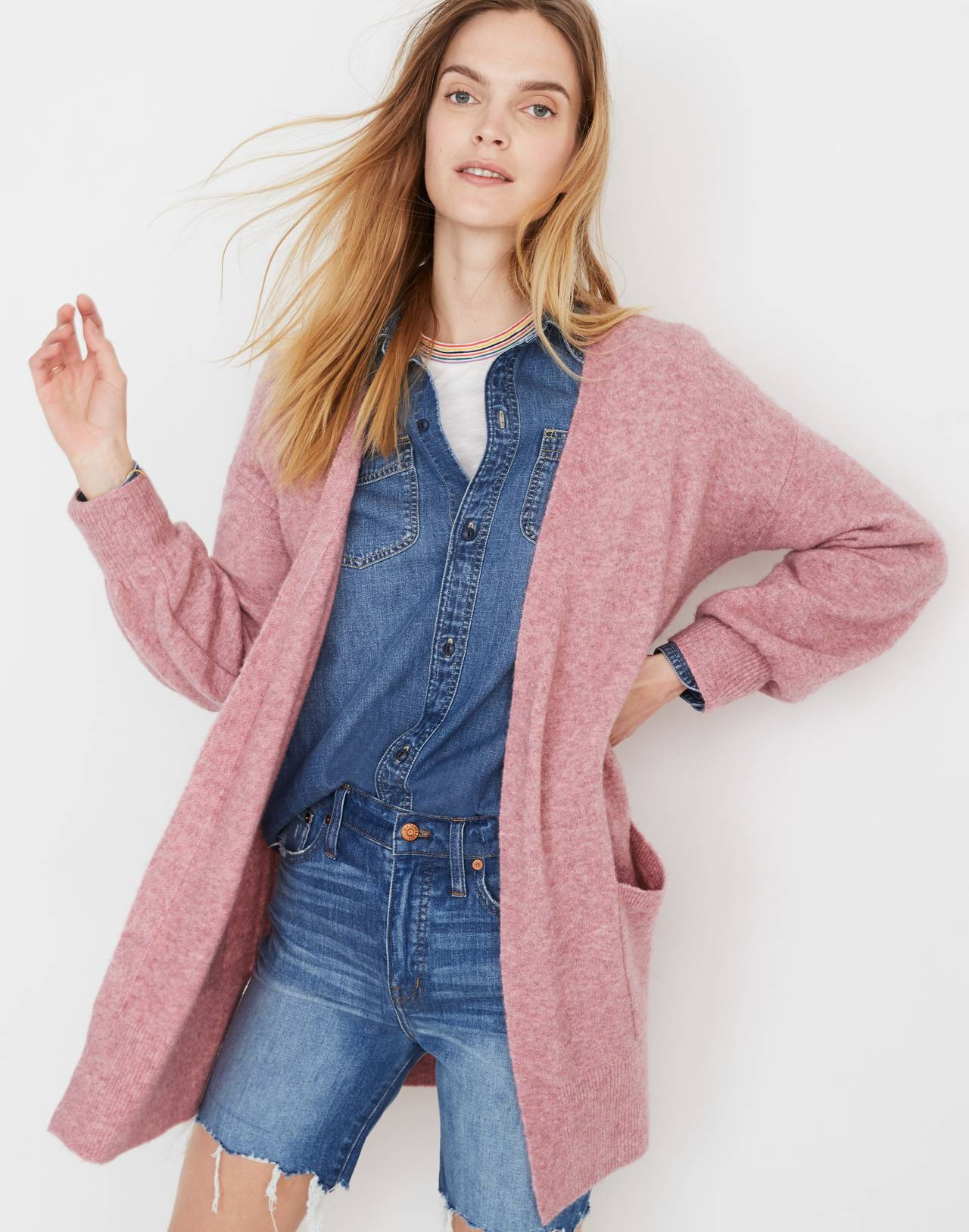 Edgewater Bubble-Sleeve Cardigan Sweater in heather mulberry image 1