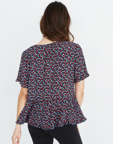 Stanza Ruffle-Hem Top in Petite Blooms in calico deep navy image 3