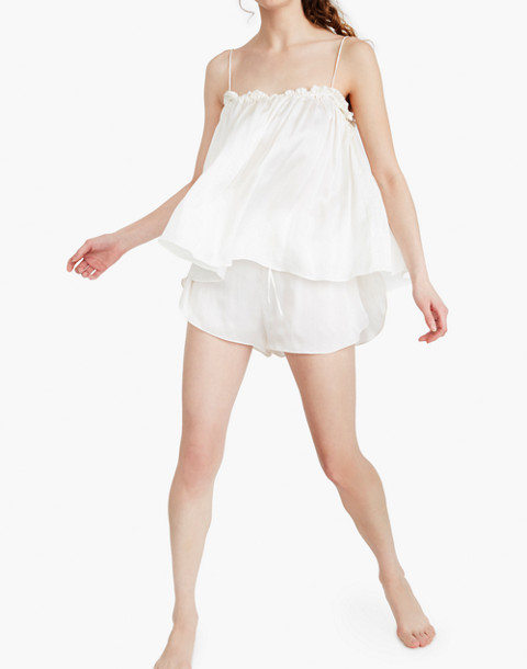 The Great Eros® Silk Dia Ruffle High-Waist Shorts in white image 1