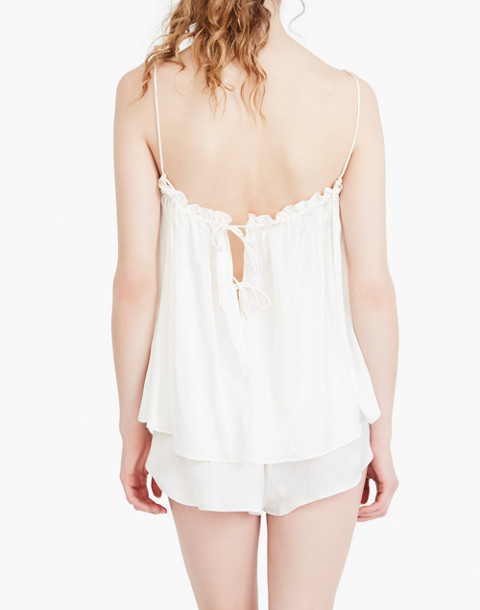 The Great Eros® Silk Dia Ruffle High-Waist Shorts in white image 2