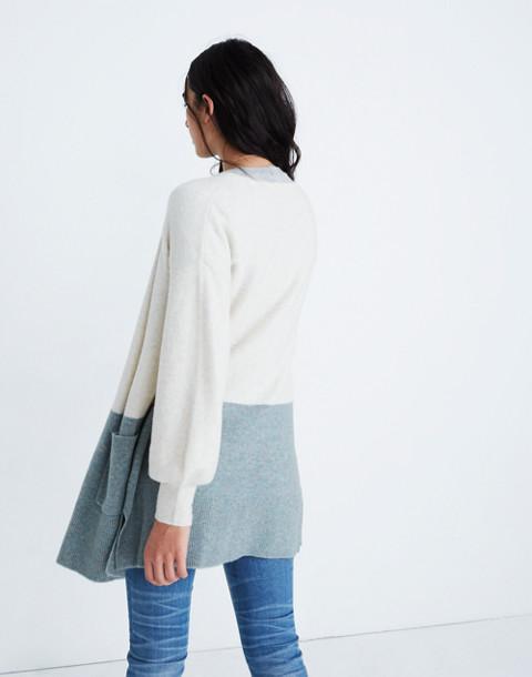 Edgewater Bubble-Sleeve Cardigan Sweater in Colorblock in heather smoke image 3