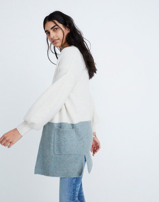 Edgewater Bubble-Sleeve Cardigan Sweater in Colorblock in heather smoke image 1