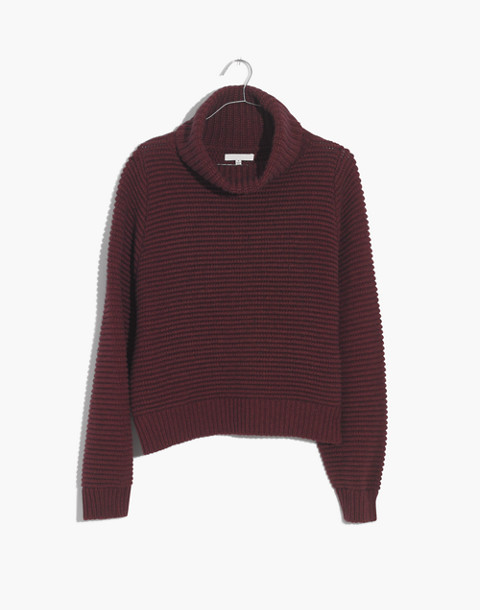Side-Button Turtleneck Sweater in heather cherry image 1