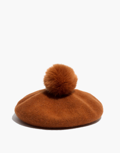 Pom-Pom Beret in golden pecan image 1