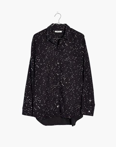 Oversized Ex-Boyfriend Shirt in Star Print in galaxy star true black image 4