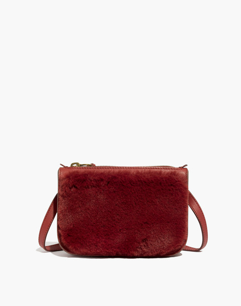 The Simple Pouch Belt Bag in Faux Fur in canterbury red image 1