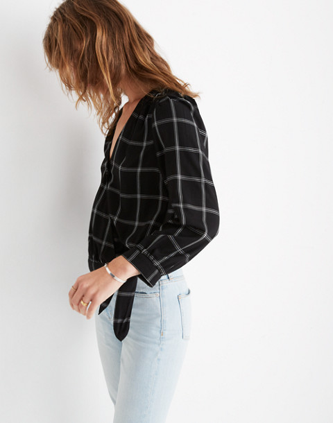 Wrap Top in Windowpane in balsam plaid black image 2