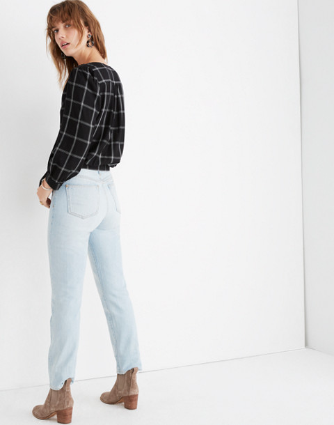 Wrap Top in Windowpane in balsam plaid black image 3