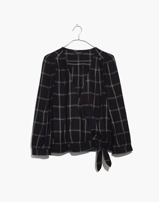 Wrap Top in Windowpane in balsam plaid black image 4