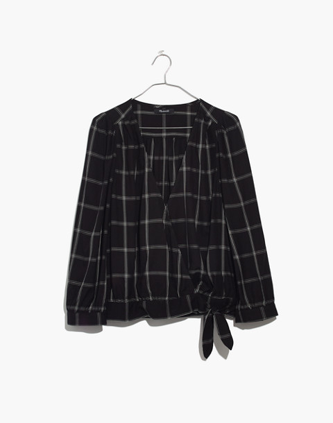 Wrap Top in Windowpane in balsam plaid black image 4