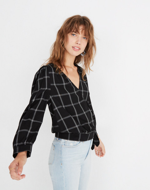 Wrap Top in Windowpane in balsam plaid black image 1