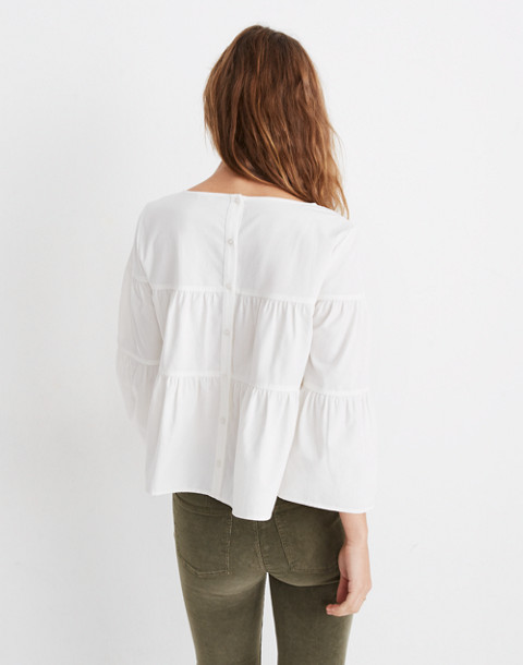Tiered Button-Back Top in Pure White in pure white image 3