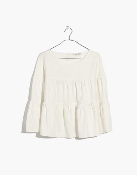 Tiered Button-Back Top in Pure White in pure white image 4