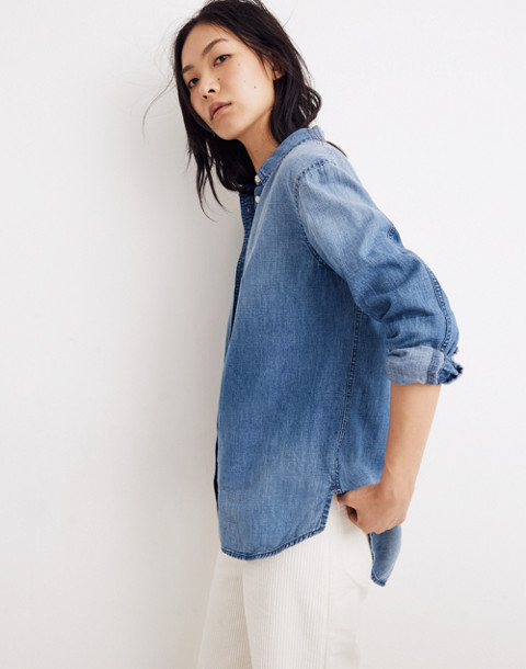 Denim Oversized Ex-Boyfriend Shirt in Cameron Wash in cameron wash image 2