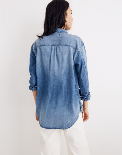 Denim Oversized Ex-Boyfriend Shirt in Cameron Wash in cameron wash image 3