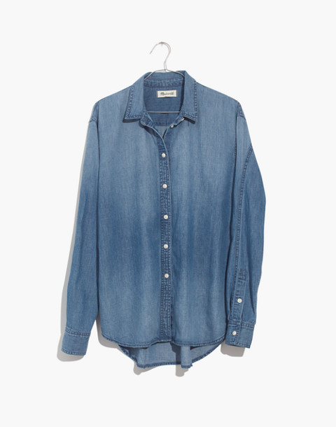 Denim Oversized Ex-Boyfriend Shirt in Cameron Wash in cameron wash image 4