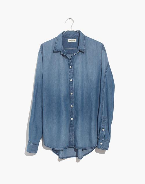 Denim Oversized Ex-Boyfriend Shirt in Cameron Wash in cameron wash image 4
