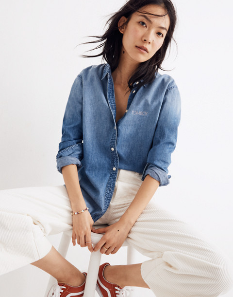 Denim Oversized Ex-Boyfriend Shirt in Cameron Wash in cameron wash image 1