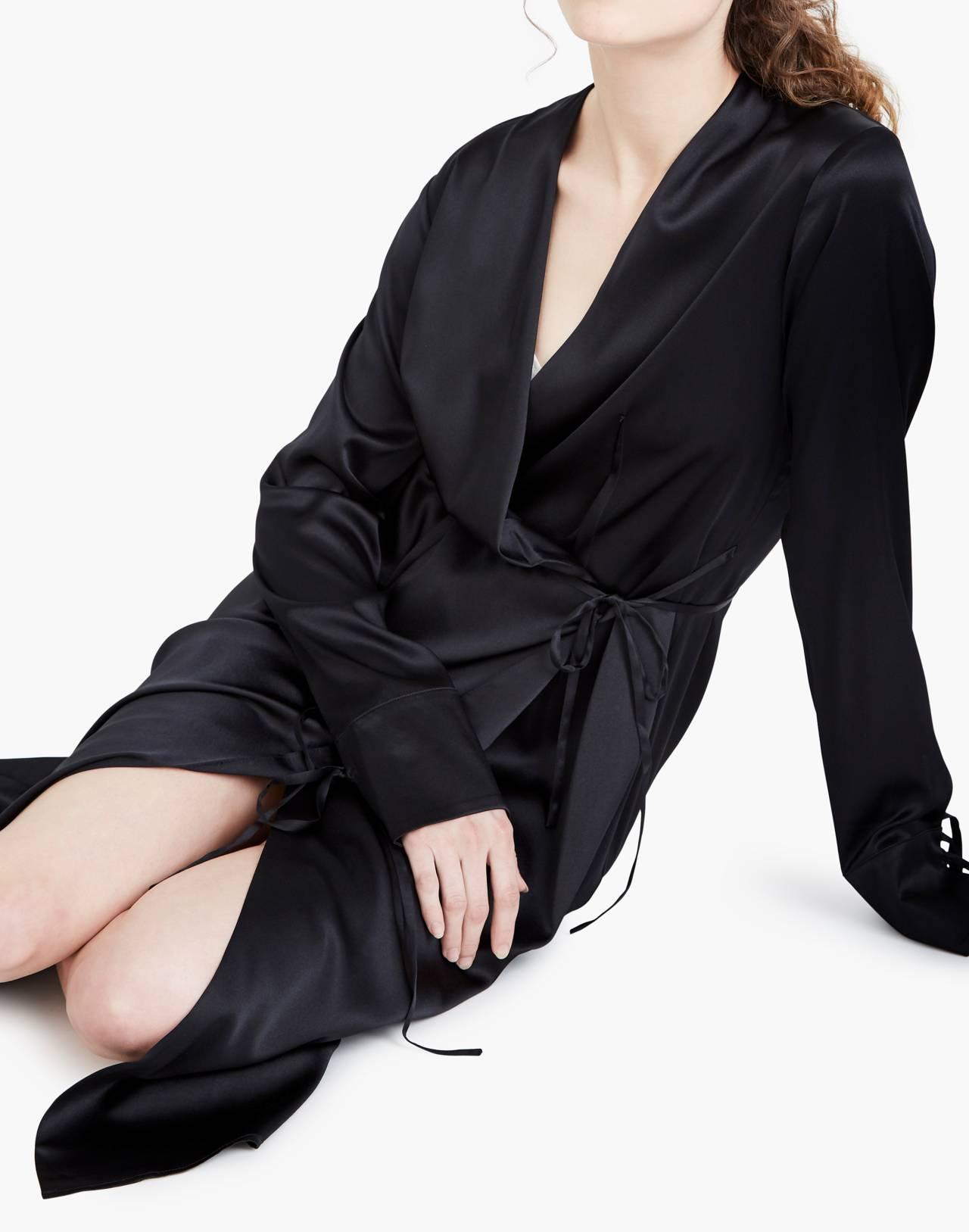 The Great Eros® Silk Ereni French-Cuff Wrap Dress in black image 2