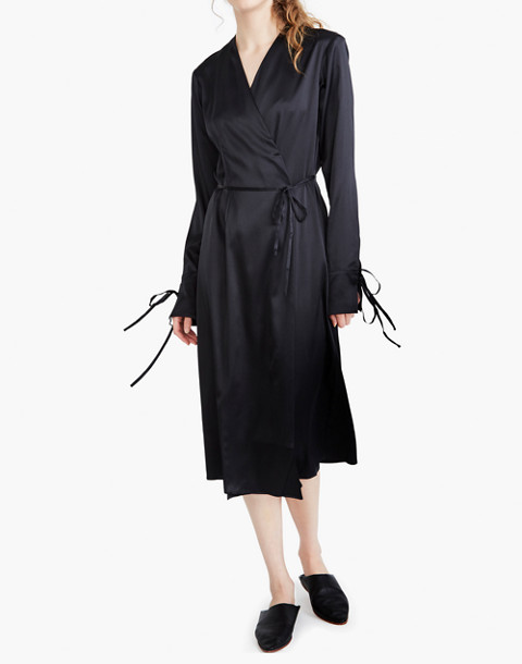 The Great Eros® Silk Ereni French-Cuff Wrap Dress in black image 3