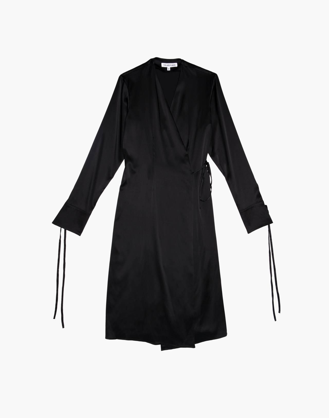 The Great Eros® Silk Ereni French-Cuff Wrap Dress in black image 4
