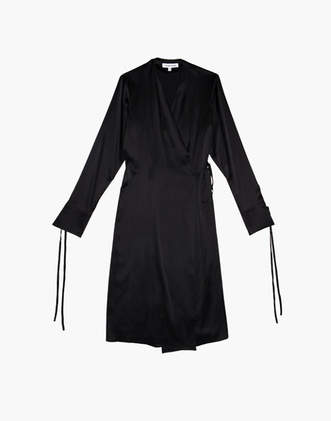 The Great Eros® Silk Ereni French-Cuff Wrap Dress in black image 1
