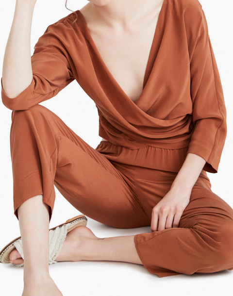 The Great Eros® Silk Loutro Wrap Button-Back Top in orange image 2