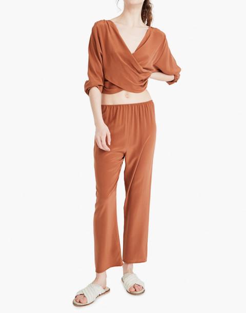The Great Eros® Silk Loutro Wrap Button-Back Top in orange image 3