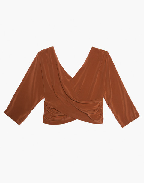The Great Eros® Silk Loutro Wrap Button-Back Top in orange image 1