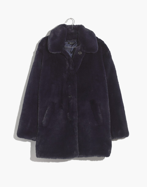 Faux-Fur Coat in blue night image 1