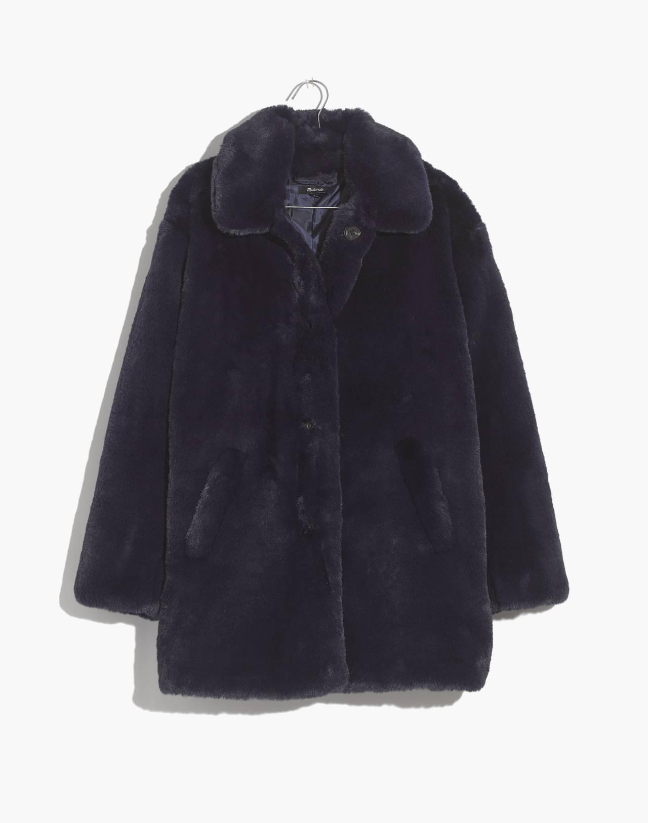 Faux-Fur Coat in blue night image 1