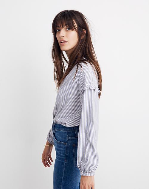 10f74d4ddf Collarless Ruffle-Sleeve Shirt in Stripe