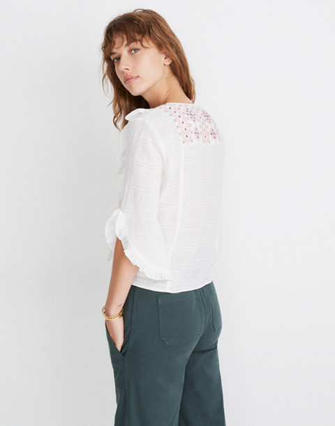 Embroidered Cassia Ruffle Top in lighthouse image 2