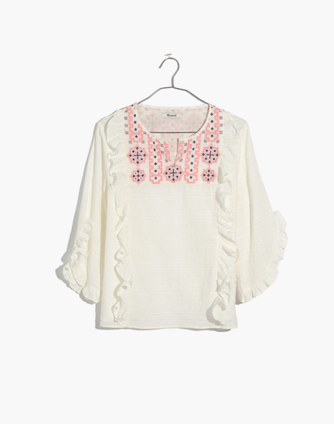 Embroidered Cassia Ruffle Top in lighthouse image 4